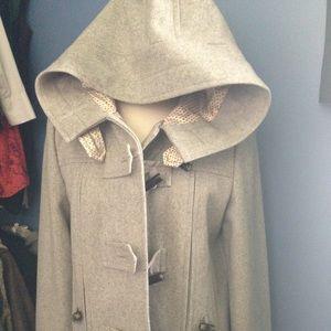 Satin lined, light grey wool short coat w/ hood